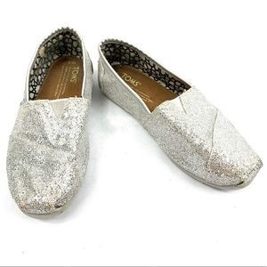 TOMS Silver Glitter Classic Slip On Shoes